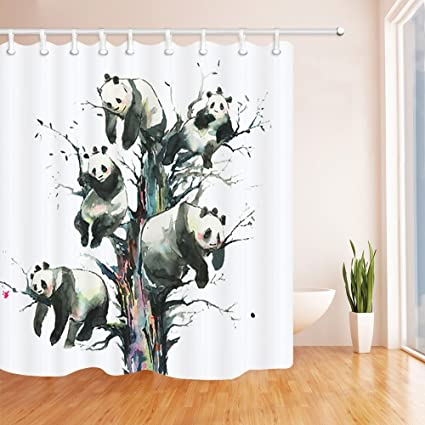 QCWN Panda Shower Curtain Lying On Bamboo Wood Tree In Nature Jungle Forest Polyester