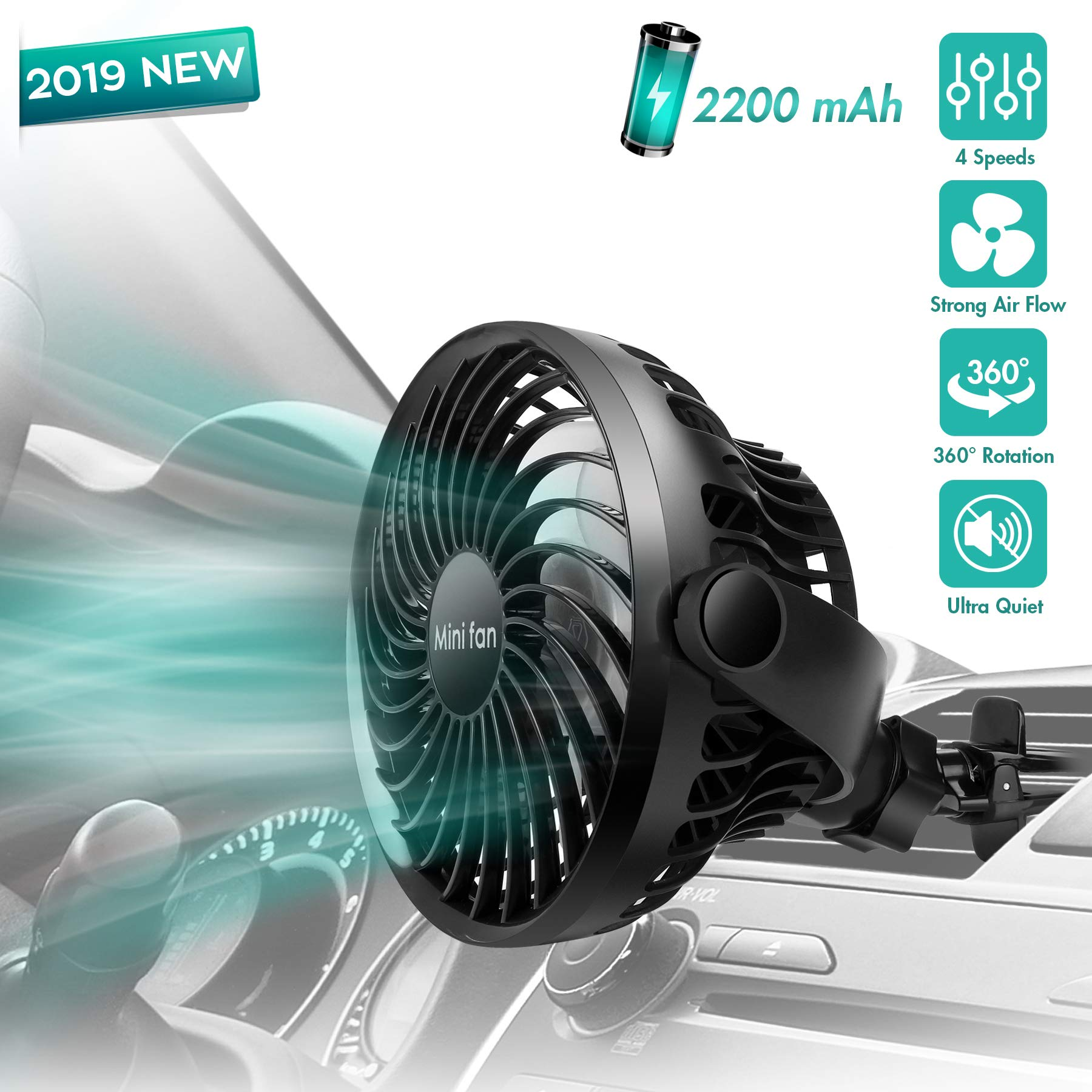 Car Fan, Car Air Vent Clip Fan, 2200 mAh Rechargerable Battery powered fan, Air Circulation Fan with High Airflow, Four Speeds, 360°Rotation, Must Have for Driver in Summer(Battery Included)