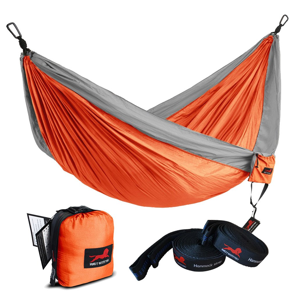 HONEST OUTFITTERS Single Camping Hammock with Hammock Tree Straps,Portable Parachute Nylon Hammock for Backpacking Travel Orange/Grey 55'' W x 108'' L