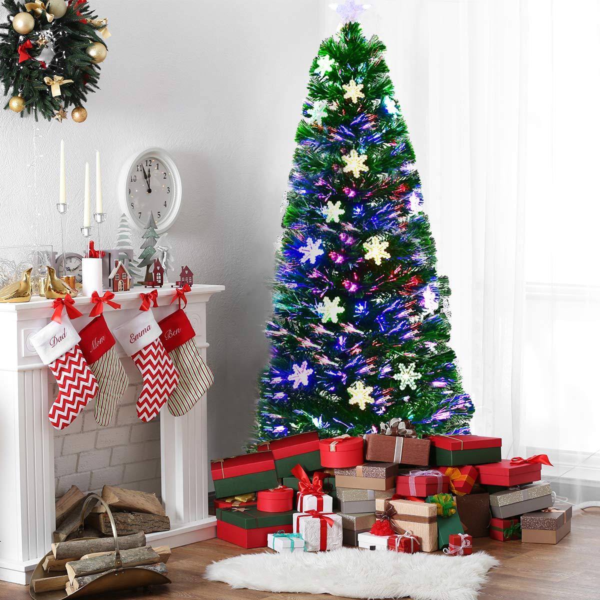 COSTWAY LED Weihnachtsbaum Künstlicher Tannenbaum Christbaum beleuchtet beleuchtet beleuchtet 90 120 150 180cm Grün mit Glasfaser-Farbwechsler (150cm) B076FTDCCQ Künstliche Weihnachtsbume f64c34