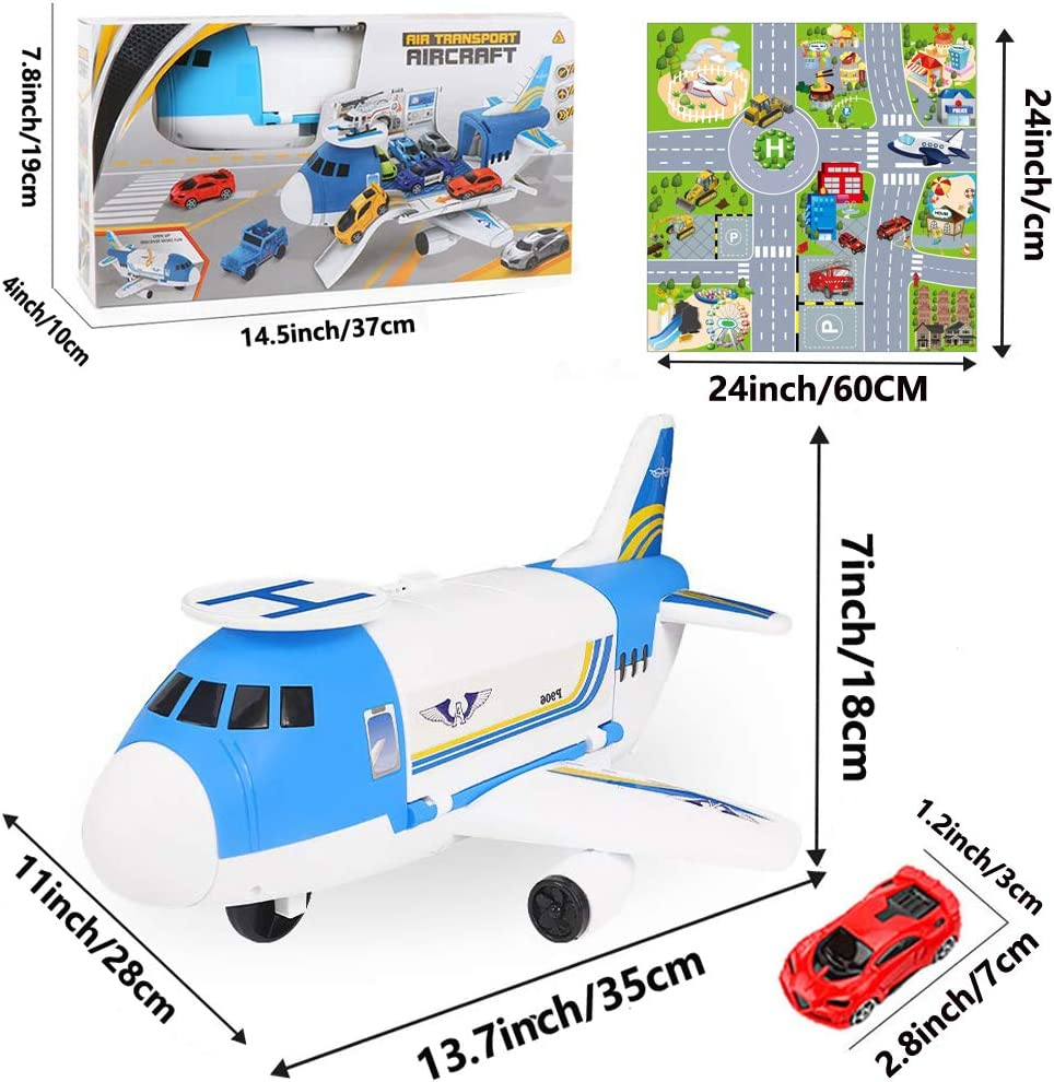 Hoiidel Car Toys Set with Transport Cargo Airplane Educational Vehicle Toy Gift for 3 4 5 6-12 Years Old Kids Toddler Boys Girls Childs 1 Helicopter 1 Large Plane 4 Mini Cars 9 Road Signs