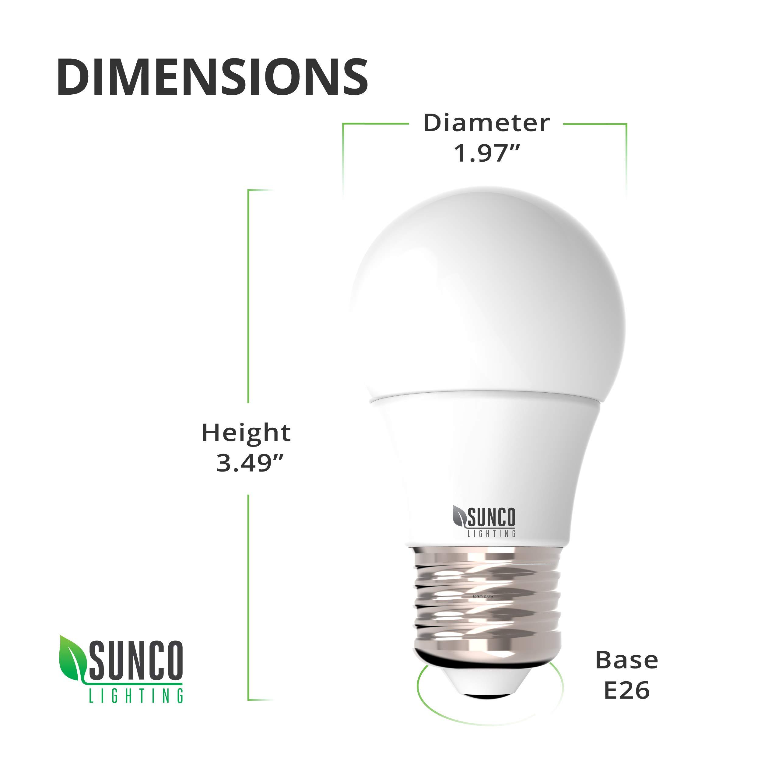 Sunco Lighting 10 Pack A15 LED Bulb, 8W=60W, 3000K Warm White, Dimmable, 800 LM, E26 Base, Refrigerator & Fan Light - UL, Energy Star by Sunco Lighting (Image #4)