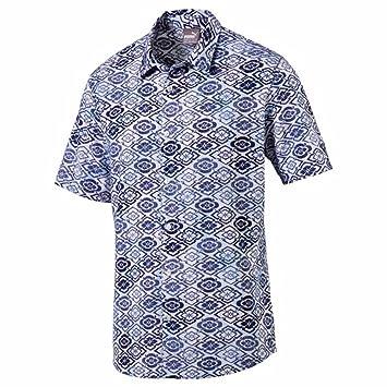 Puma Golf Men's 2018 Aloha Woven Shirt, Peacoat/Print, X-Large
