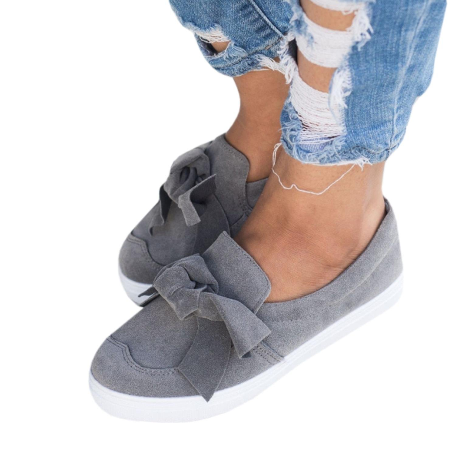 Imysty Womens Slip-on Loafers Fashion Top Bowknot Casual Walking Faux Suede Flat Sneakers Shoes