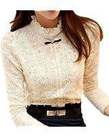 Chiffon Blouse 2017 New Women Tops Long Sleeve Stand Neck Work Wear Shirts Elegant Lady Blouses