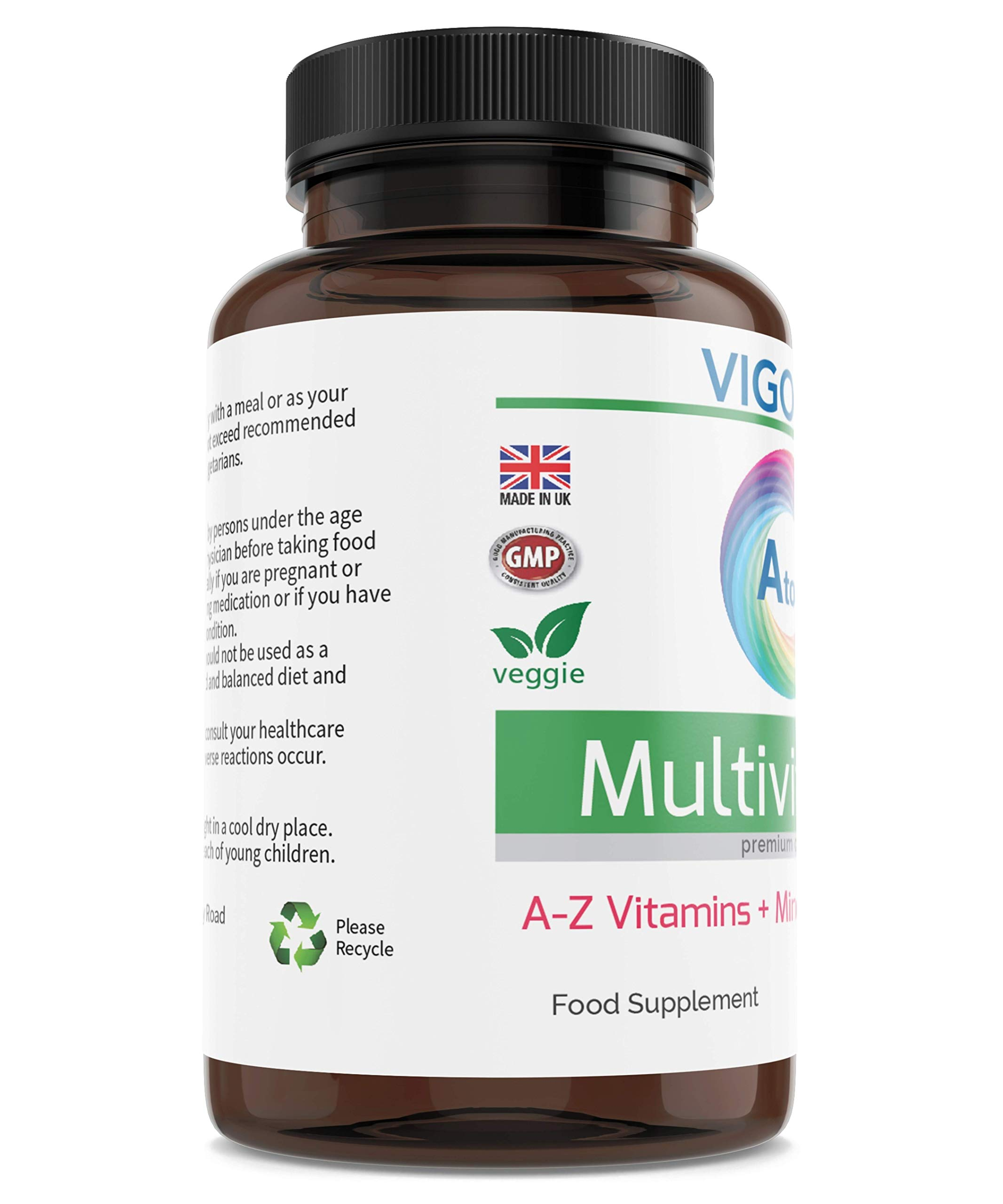 Multivitamin + Minerals A-Z Formula 180 Tablets for Energy General Health and Wellbeing - Immune System Brain and Bone Health - Balanced Vitamin Complex for Men and Women Non-GMO - UK Made