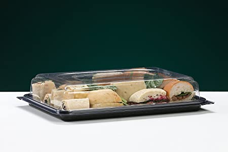 15x small buffet catering party food sandwich platter trays with rh amazon co uk catering buffet trays with lids buffet sandwich trays with lids