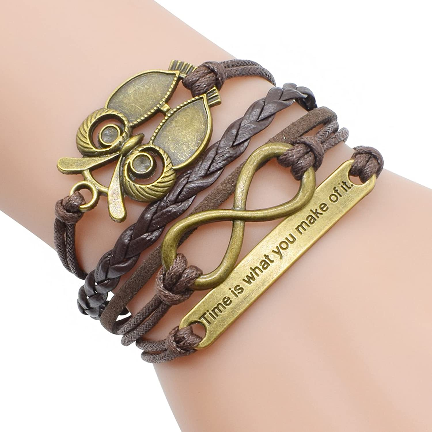Retro Bronze Owl Infinity Symbol Time Theme Unique Braided Adjustable Charm Bracelet