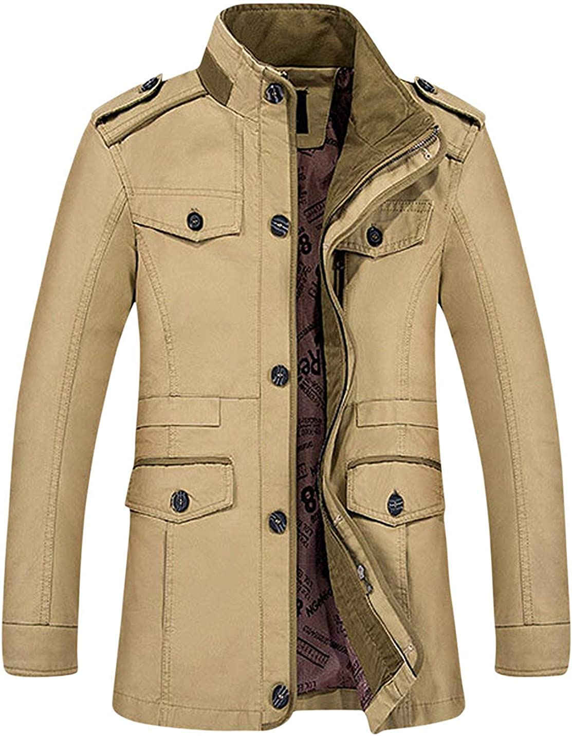 LANDOO Mens Slim Fit Stand Collar Outerwear Cotton Jacket Coats