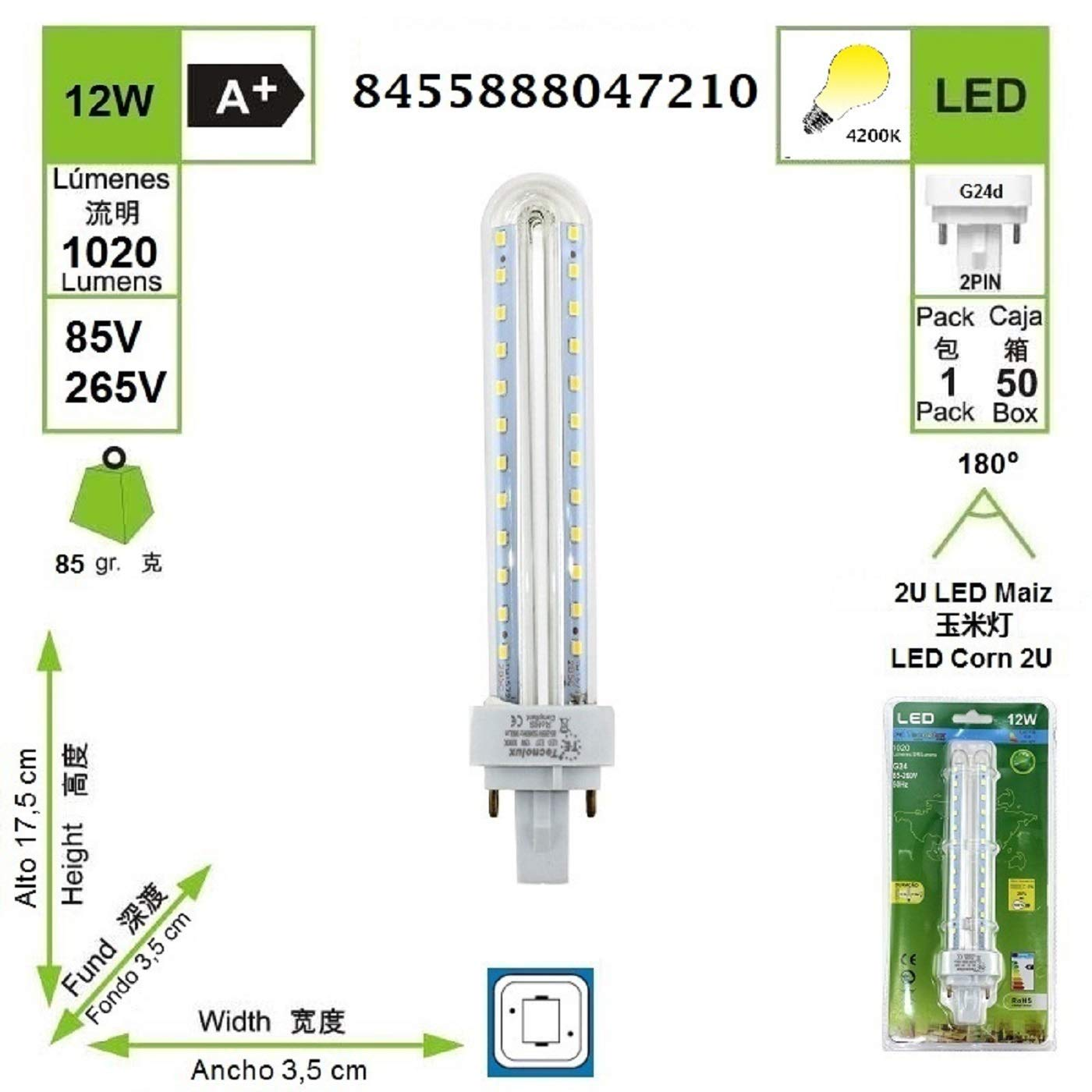Lámpara Bombilla Led 2U Tubo G24 4200K Luz Fría 12W (Pack 5): Amazon.es: Iluminación