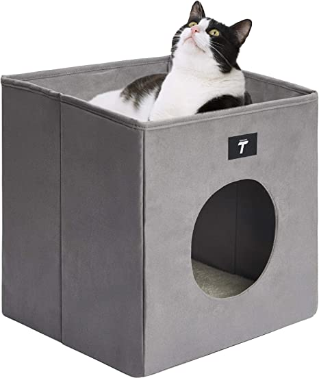 Tempcore Cat Bed For Indoor Cats Foldable Cat Cube Indoor Cat House With Lying Surface And 2 Reversible Cushions Grey Kitchen Dining