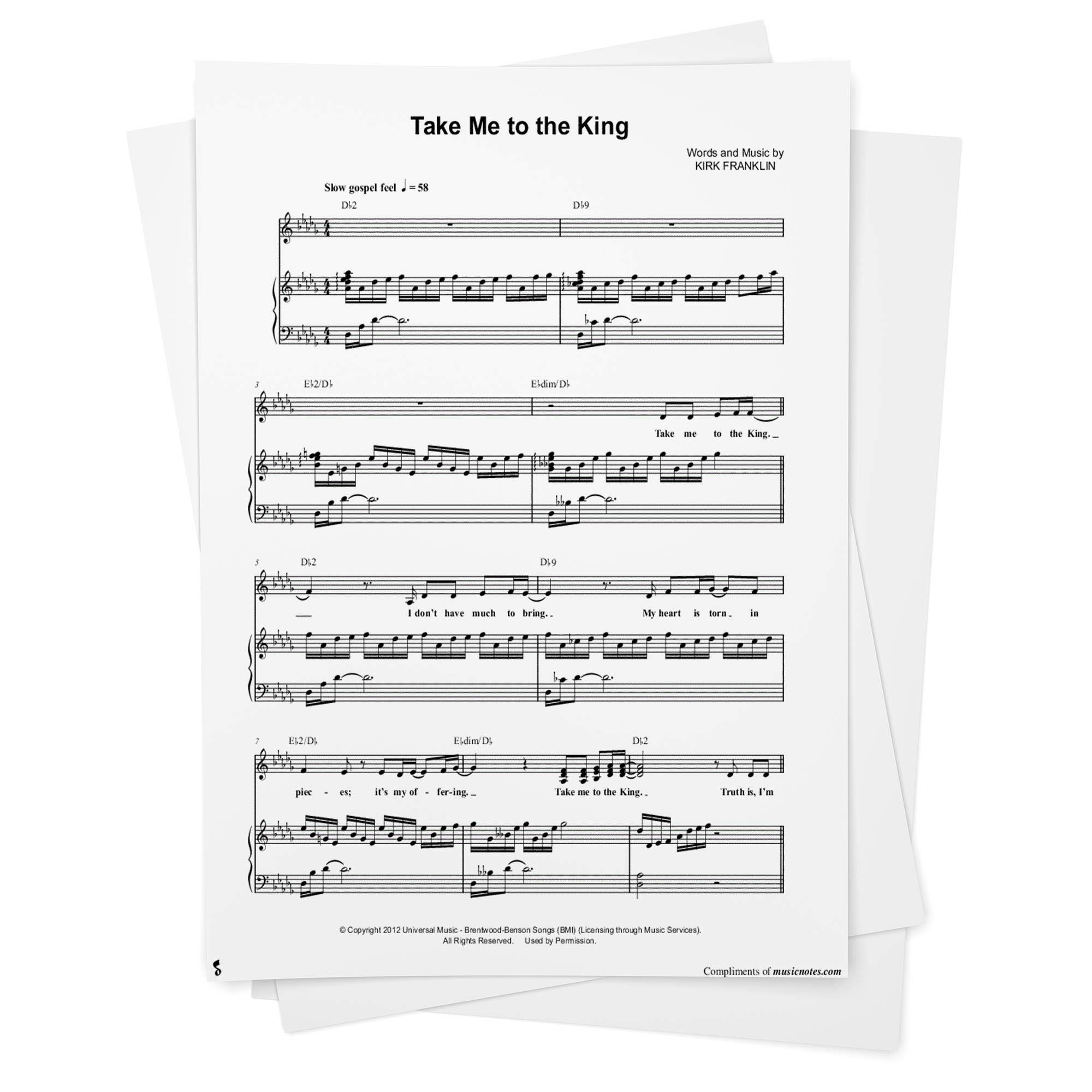 Take Me To the King Sheet Music by Tamela Mann   Piano/Vocal ...