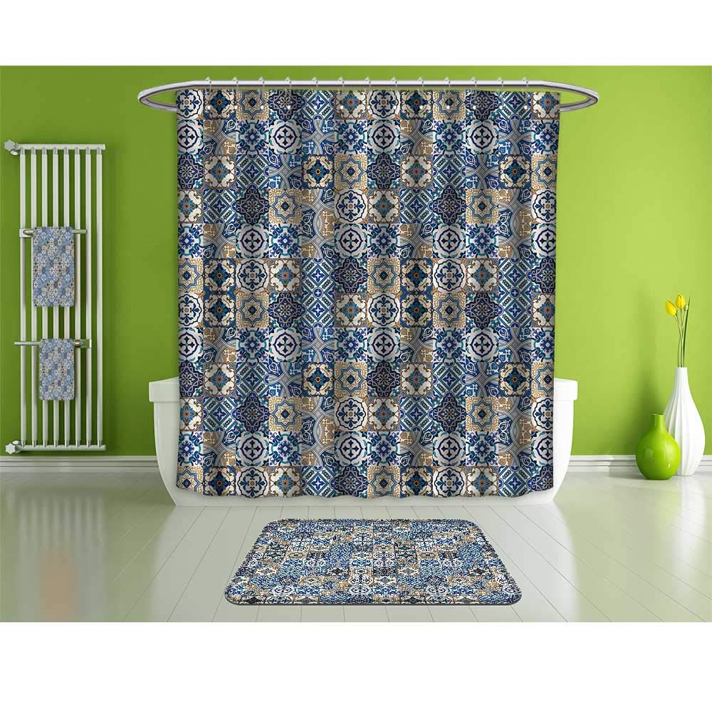 HoBeauty home Shower Curtain Towels and Floor Mat Combination Set,Moroccan,Portuguese Traditional,Suitable for Bathroom,etc,Multicolor.
