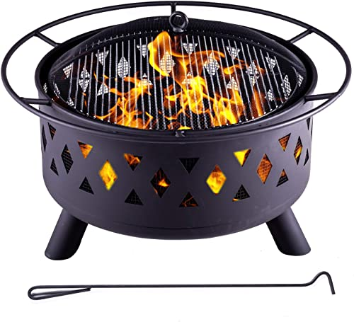 Legacy Heating 30'' 50 Pounds Fire Pits Outdoor Wood Burning Durable Steel BBQ Grill Fireplace Bowl