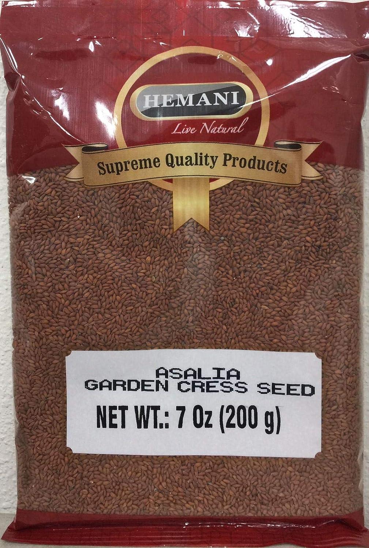 Hemani 100% Pure Garden Cress Seeds - Lepidium sativum - Halim Aliv - Rashad Seed - 200g (7oz)