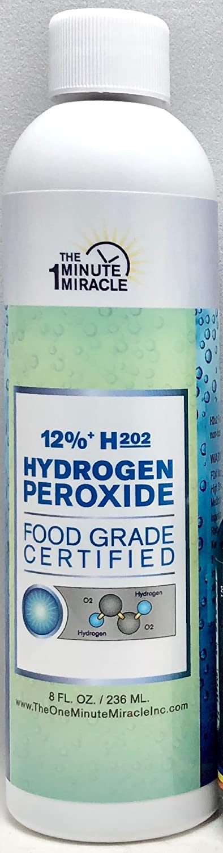 12% Hydrogen Peroxide Food Grade H2o2-8 oz Bottle with 1 oz Bottle Dropper