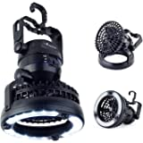 LED Camping Gear Lantern Fan Gift – Cool Gadget Supplies & Tent Light Equipment Glamping Essentials Accessories – Best Portable Lamp for Men Women Kids Boy Scouts – Battery Powered (Not Included)