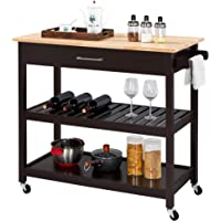 Yaheetech Kitchen Island on Wheels, 3 Tier Rolling Microwave Oven Cart Serving Cart with Storage Drawer and Shelves 40…