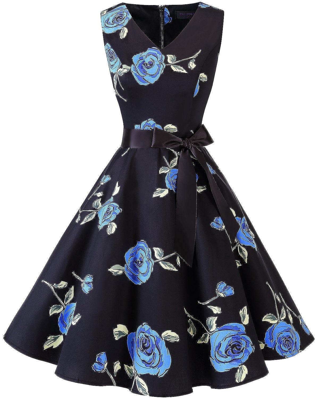 TALLA XL. Bridesmay Vestido de Cóctel Fiesta Mujer Verano Años 50 Vintage Rockabilly Sin Mangas Pin Up Blue Flower XL