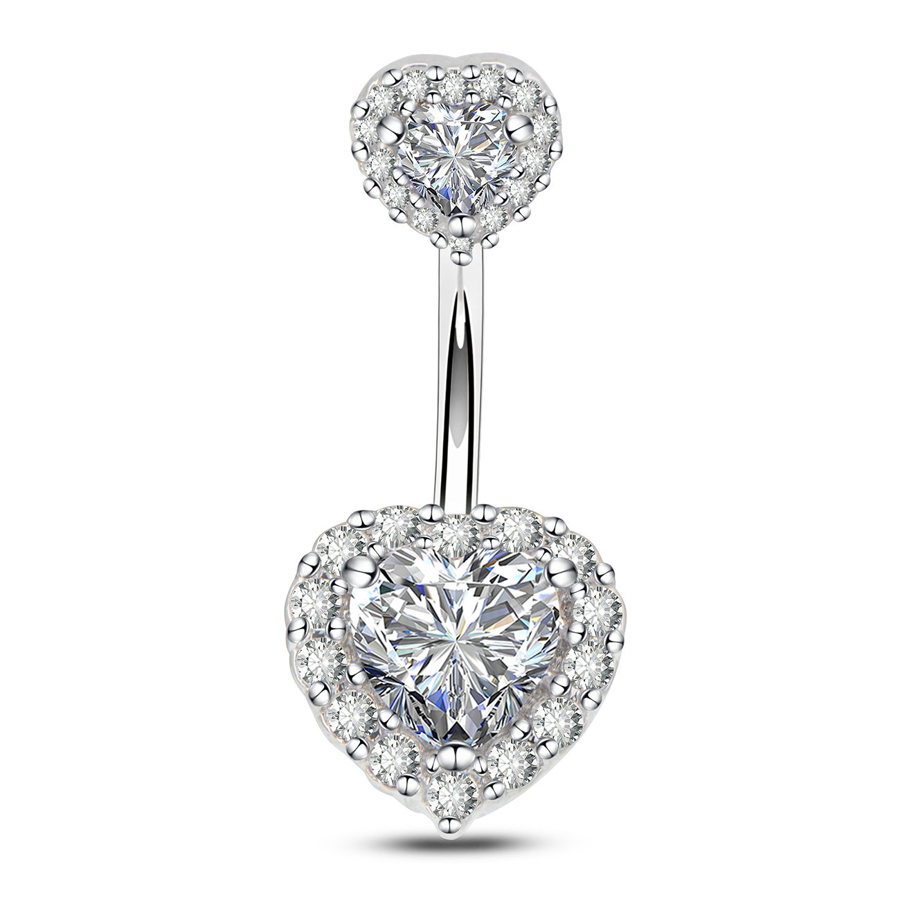 OUFER 14G Double Heart Cubic Zirconia Navel Belly Button Ring Surgical Steel Piercing Jewelry