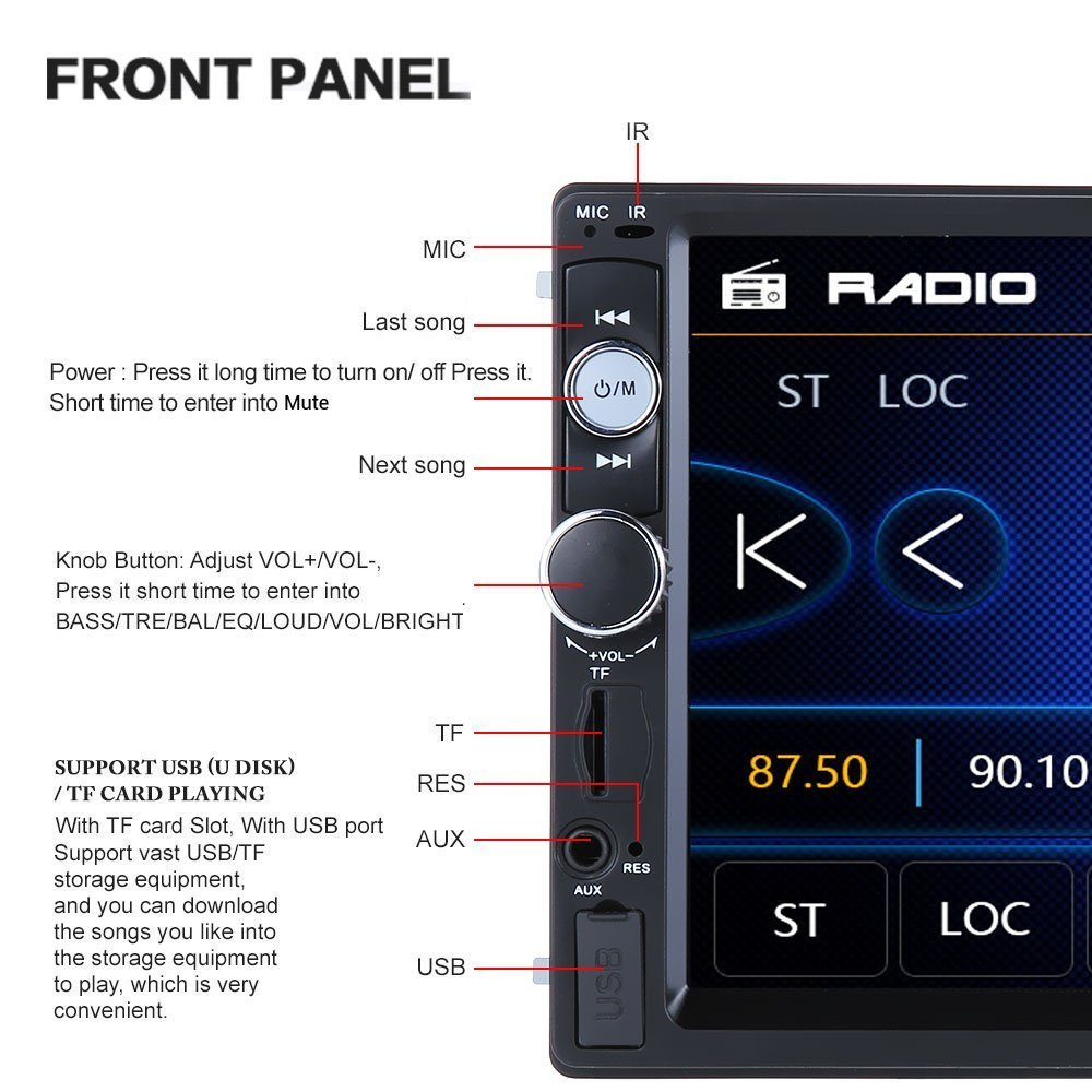 Remote Control Support TF//USB//AUX-in//Subwoofer//Steering Wheel Regetek 7 Touchscreen in Dash Bluetooth Mp3 Audio 1080P Video Player FM AM Radio Car Stereo Double Din Radio