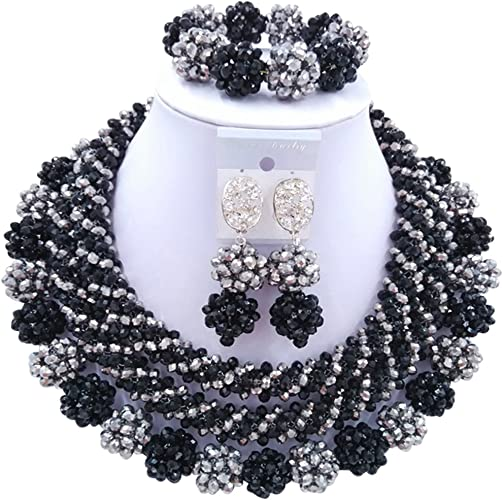 BLACK  WHITE  BROWN Gray Resin Bead Jewelry Set