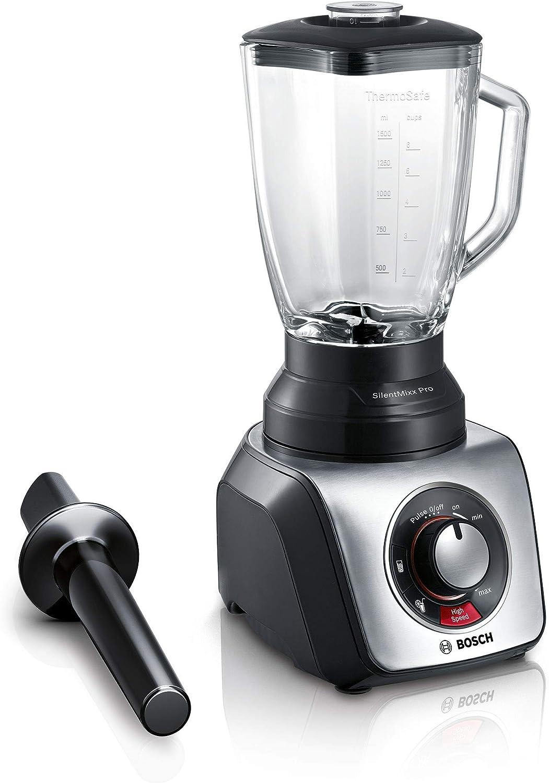 Bosch SilentMixx Pro - Licuadora (2,3 L, Continuo, Giratorio, Batidora de vaso, Negro, Acero inoxidable