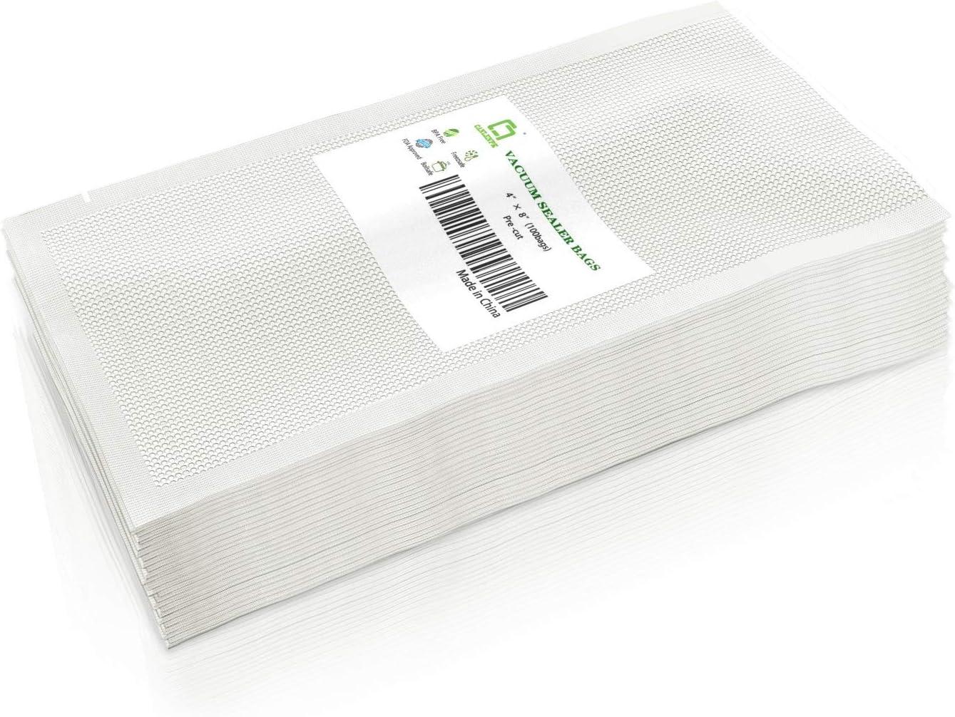 CANLENPK 4×8 Inch Vacuum Seal Bags,Small Precut Food Storage Sealer Bag,Seal Meal Snack Fruit Nut Tea Cookie Bean ,Boil Steam Heat Freezer Sous Vide Grocery Sealable Bag,Commercial Grade Heavy Duty(100PCS)