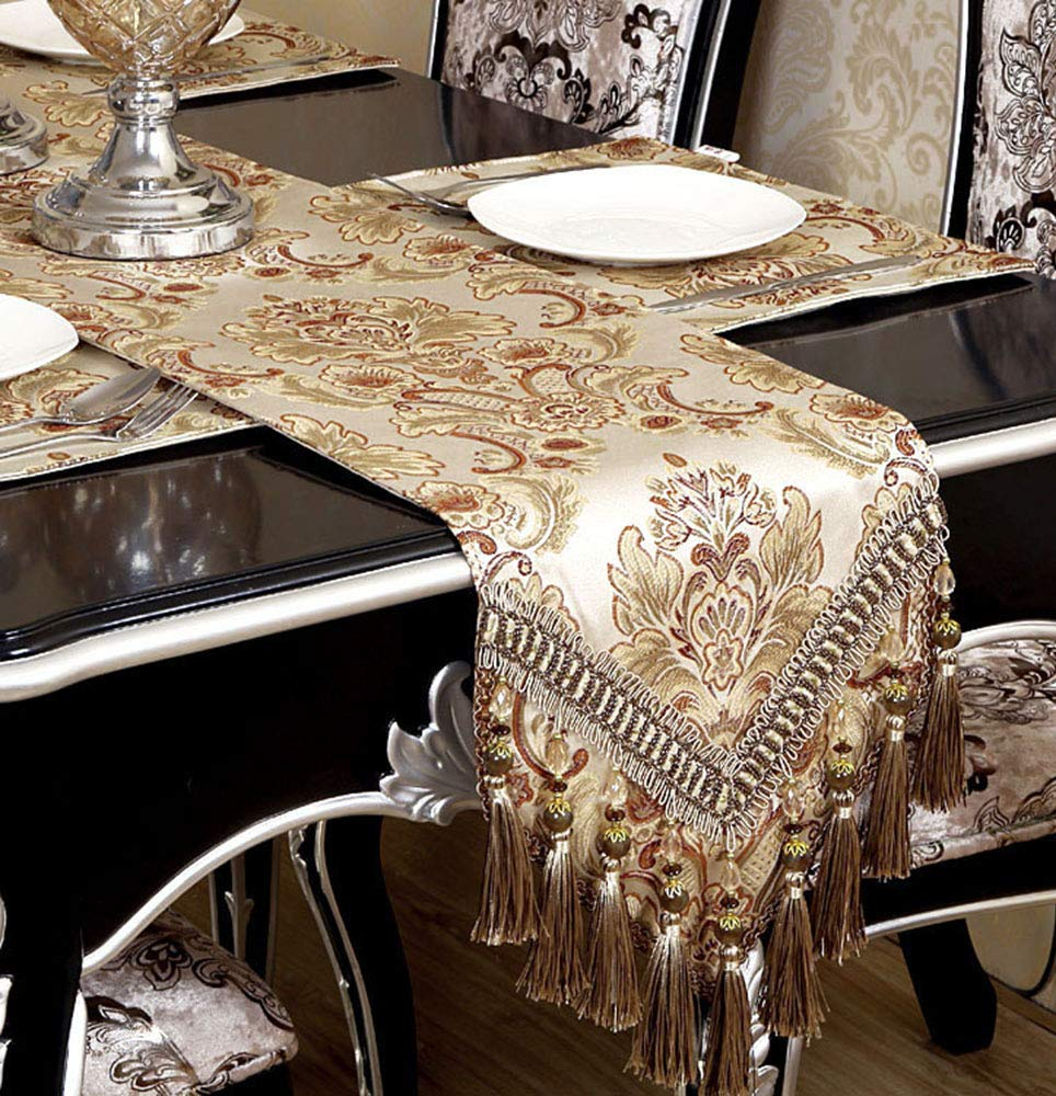 GRELUCGO Modern Luxury Jacquard Fabric Floral Damask Table Runners and Dresser Scarves with Multi-Tassels, Customer Order (12x120 inch)