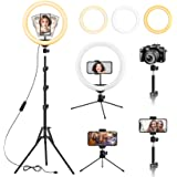 """13 inch Ring Light with Floor Tripod and Desk Stand(Ringlight Kit Totally 74"""" Tall), Adjustable LED Circle Light with Phone H"""