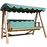 Outsunny Deluxe 3-Sitzer Holz Garten Outdoor Swing Stuhl, Sitz Hängematte Bench Möbel Liege Bett Holz