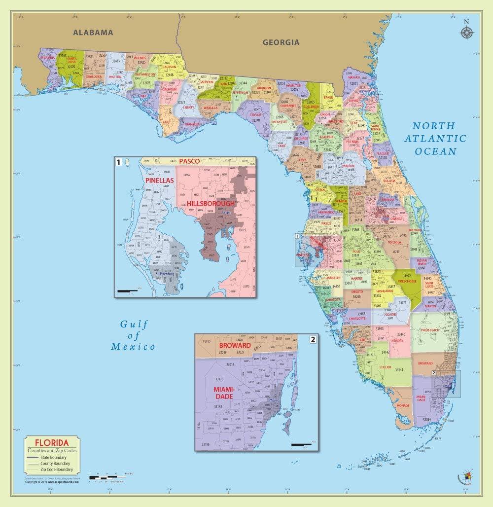 Map Of Florida Counties With Zip Codes Amazon.: Florida County with Zip Code Map (36