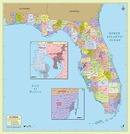 Amazon.com : Florida County with Zip Code Map (60\