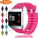 Fitbit Ionic Bands KingAcc Soft Accessory Replacement Band for Fitbit Ionic With Metal Buckle Fitness Wristband Strap Women Men (1-Pack Rose Large)