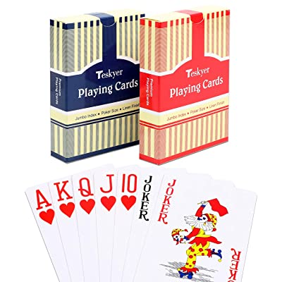 Teskyer Playing Cards, Poker Size, Large Print Jumbo Index, Linen Finish Surface,Blue and Red: Sports & Outdoors [5Bkhe0504256]