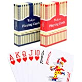 Teskyer Large Print Playing Cards, Poker Size Jumbo Index Deck of Cards, Linen Finish Surface, Blue and Red, 2 Pack and 12 Pa