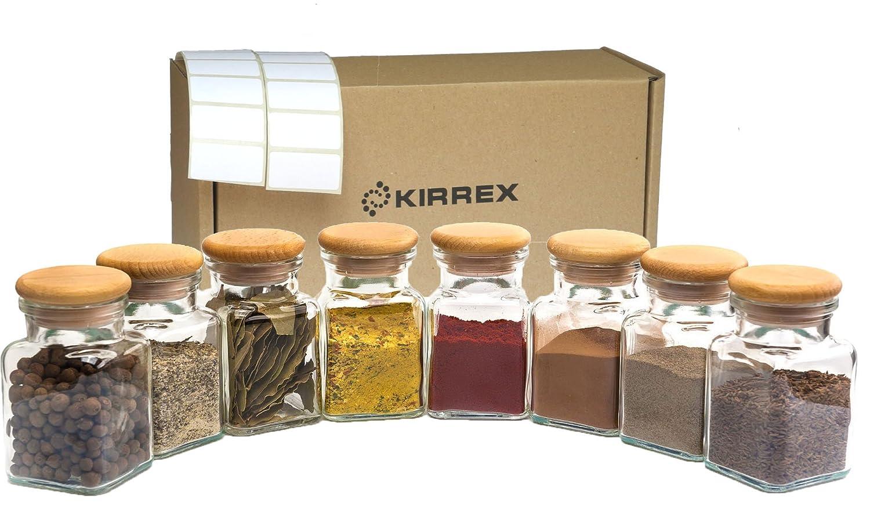 150 ml Kirrex Gew/ürzgl/äser Set mit Luftdichter Glasdeckel 8 St/ück