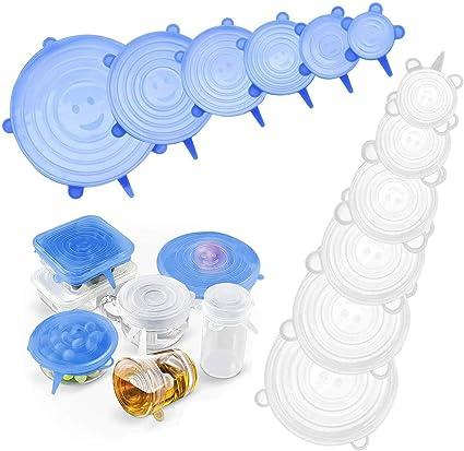 6//12 Pcs Silicone Extensible Couvercles de Conservation Wraps Seals Réutilisable Film Alimentaire Tin Foil