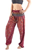 Premium Ladies Baggy Trousers - Peacock Feathers Print - Ladies Harem Trousers - Festival Yoga Relaxation