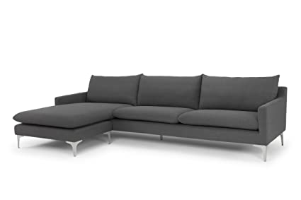 Superieur Nuevo Living Anders Sectional Sofa In Slate Grey Velour And Brushed  Stainless Steel