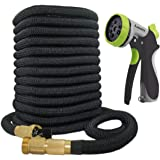 Lawnite 150ft Garden Hose-2018 Upgraded Expandable Water Hose with Double Latex Core 3/4 Solid Brass Fittings Extra Strength Fabric - Flexible Expanding Hose with 8 Function Spray Metal Nozzle