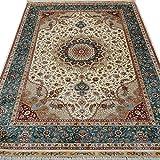 YILONG CARPET Yilong 4'x6′ Hand Knotted Persian Silk Rug Classic Oriental Qum Floral Blue Handmade Living Room Carpet Review