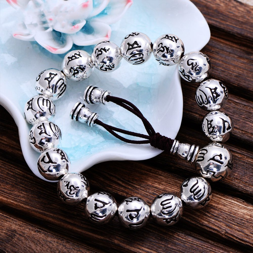 MetJakt Buddhism Mantra Bracelet Solid S999 Sterling Silver Buddha Beads Bracelet for Unisex Vintage Jewelry Stretching 7.5-9inches by MetJakt (Image #5)