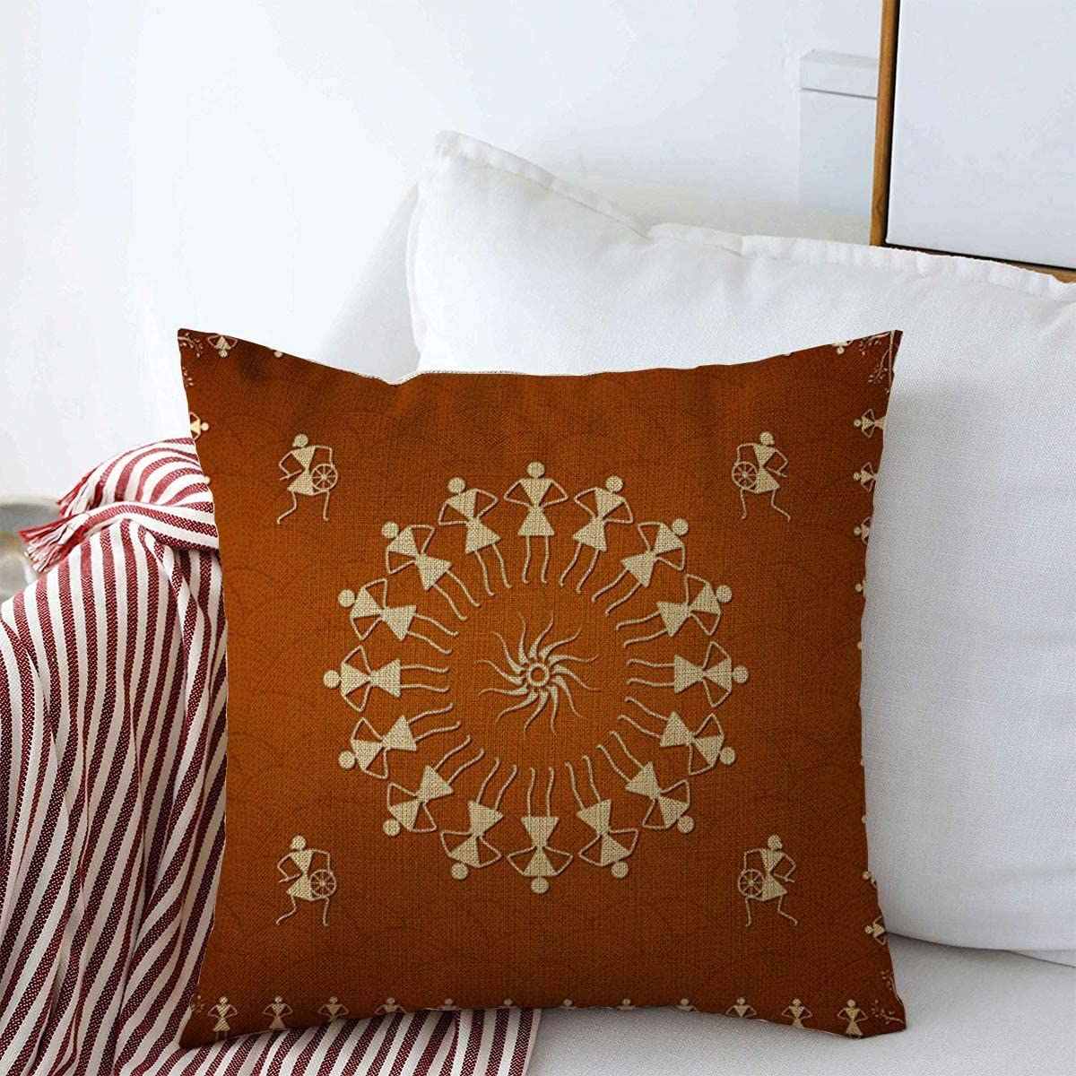Starosa Throw Pillows Cover 16 x 16 Inches Madhubani Textures People Epic Dancing Warli Classic Old Painting India Wall Rural Handicraft Famous Cushion Case Cotton Linen for Fall Home Decor