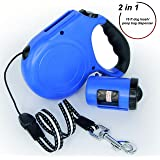 Retractable Dog Leash - Walking Leash 16 ft for Small Medium Breed up to 88 lbs - Best Retractable Leash Set with Bag Dispenser - Durable Plastic Pet Training Leash Cord for Puppy Adult Dog