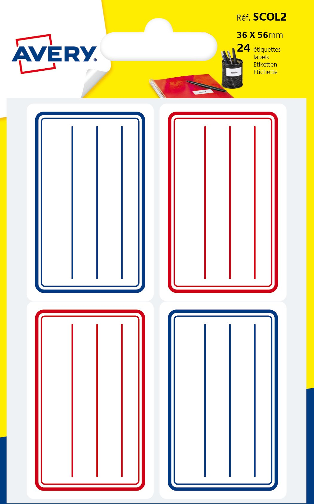 Avery A6Pack of 24School Labels–36x56mm Board–Blue and Red Lines (scol2)