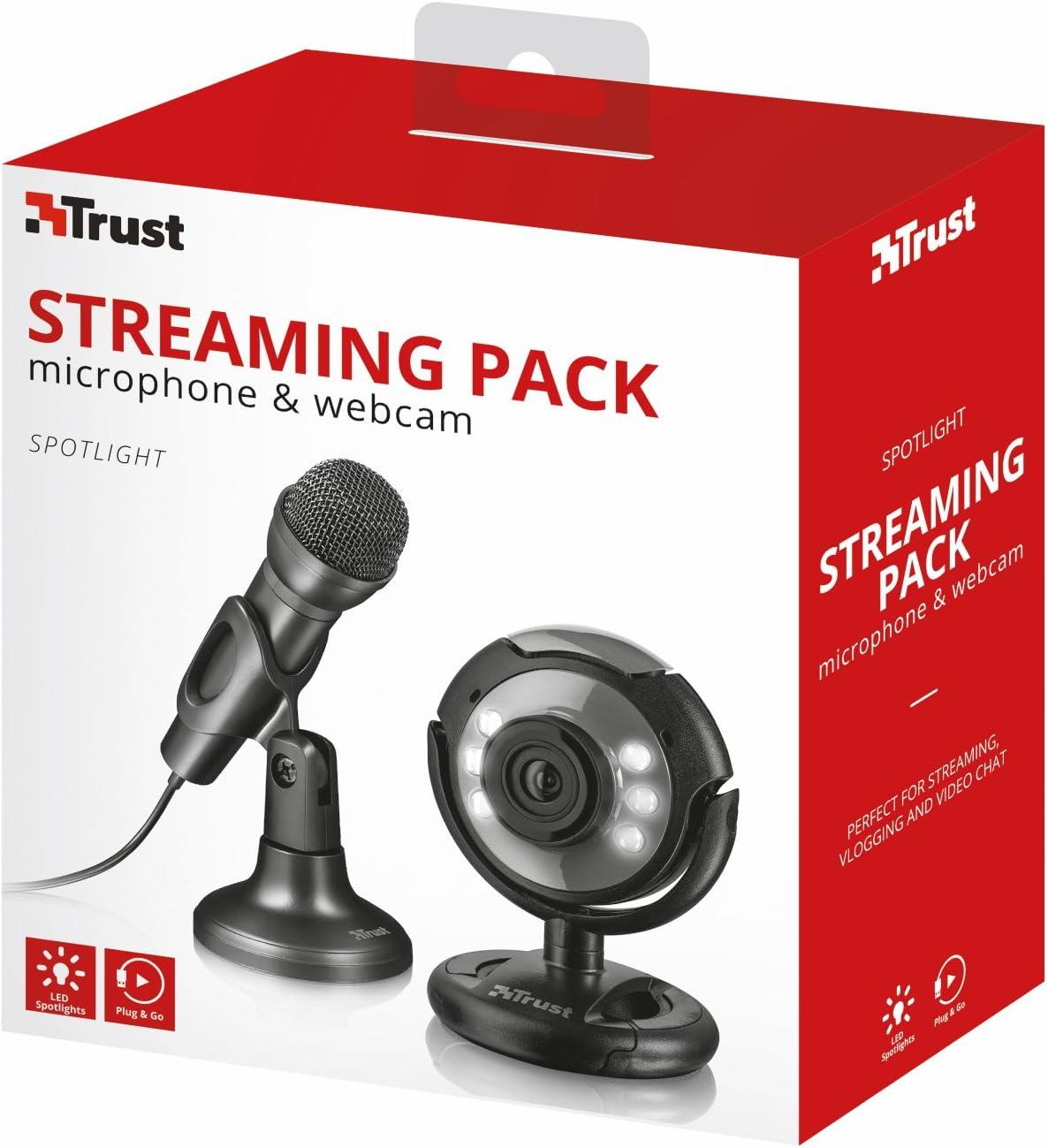 Trust Spotlight - Cámara Web y micrófono para Streaming, Color Negro: Amazon.es: Informática