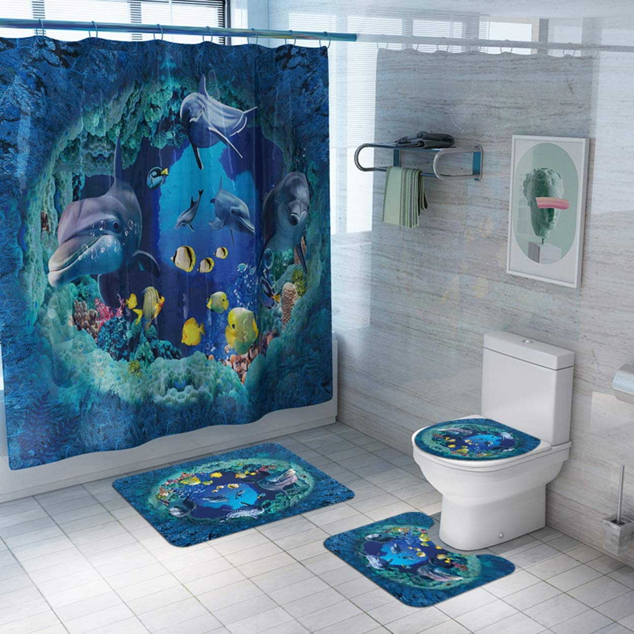 Z&S Shower Curtain + Carpet (Set of 4), Dolphin World Pattern Modern Home Non-Slip Bathroom Mat 180 180Cm