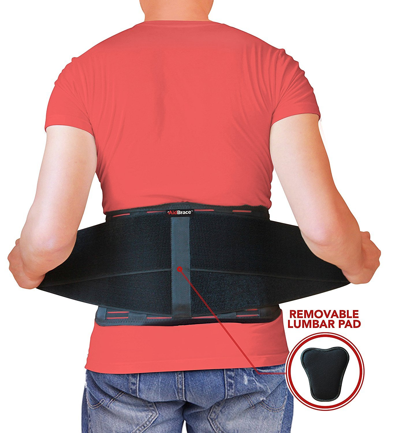 AidBrace Back Brace Support Belt - Back Pain Relief for Herniated Disc, Sciatica, and Scoliosis for Men & Women - Includes Removable Lower Lumbar Pad (L/XL)