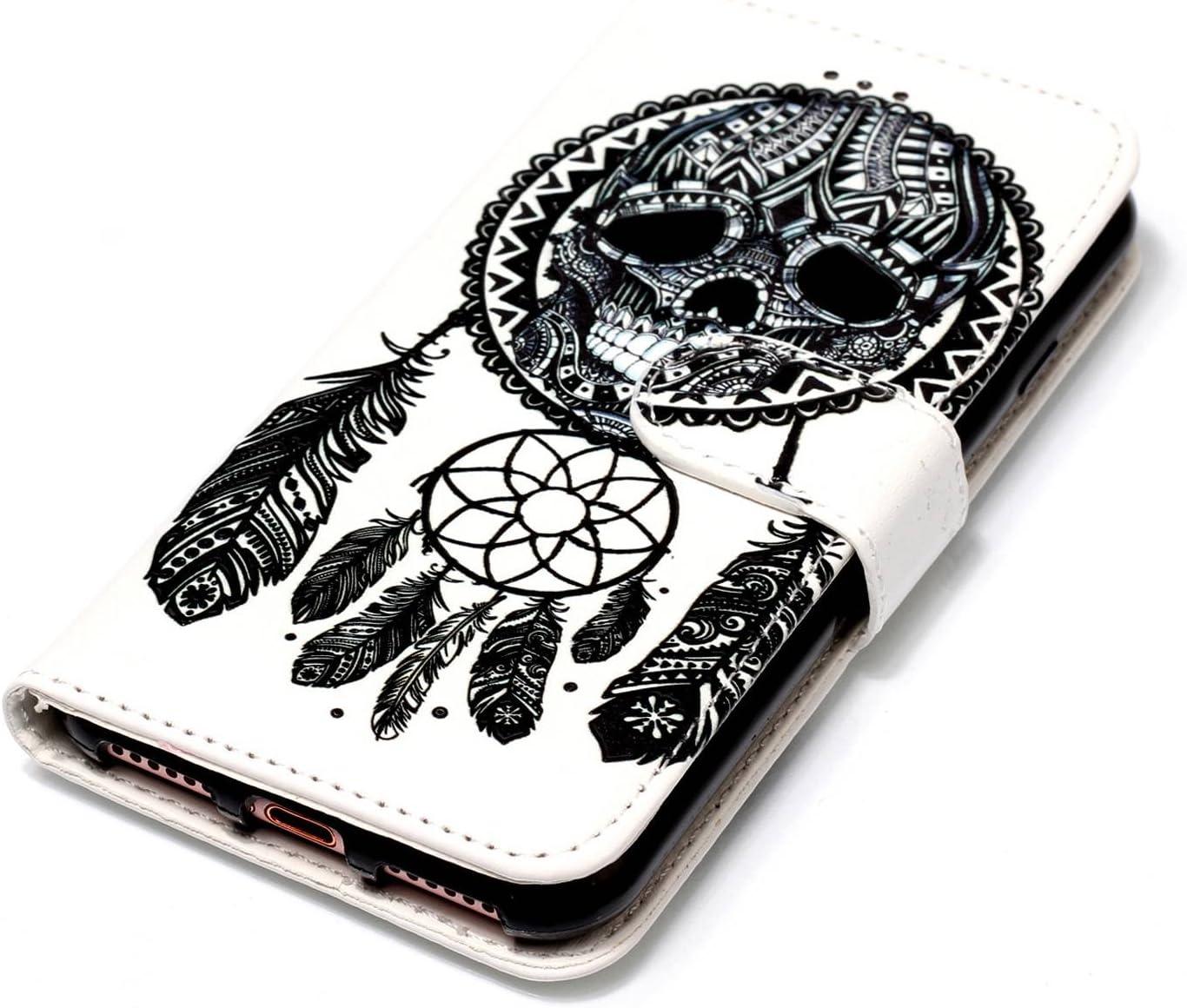KM-Panda Housse Coque Compatible pour Apple iPhone 6S 6 Campanule Dreamcatcher Squelette Cuir PU Wallet Cover Etui Portefeuille Flip Case
